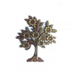 Ağaç Çiçekli Yaprakli Kahverengi 10x11.5 Cm