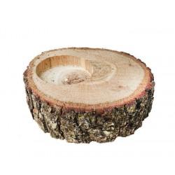 Ağaç Kütük Tealight Mumluk Oval Büyük 8x2.5 Cm