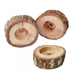 Ağaç Kütük Tealight Mumluk Yuvarlak 6x2.5 Cm ( 1 Adet )