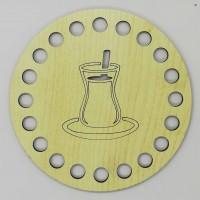 Ahşap Bardak Altlığı Çay Bardak Model Krem
