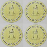 Ahşap Bardak Altlığı Çay Bardak Model Krem ( 4 Adet )