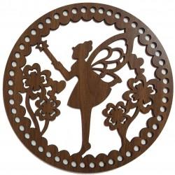 Ahşap Çanta Plakası İşleme Desenli Kelebek Kız 7012