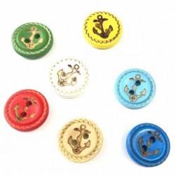 Ahsap Çapa Düğme Renkli ( 8 Adet )