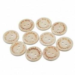 Ahsap Handmade Düğme With Love ( 10 Adet )