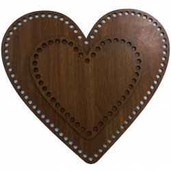 Ahşap Sepet Tabanı Kalp Boyları Kahve ( 1 Adet )