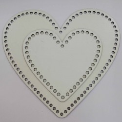 Ahşap Sepet Tabanı Kalp Boyları Beyaz ( 1 Adet )
