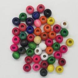 Ara Boncuk Ahşap Renkli Top 12 mm  ( Geniş Delikli )
