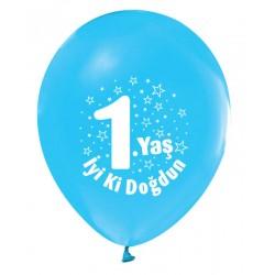 Balon 1 Yaş İyiki Doğdun Mavi ( 100 Adet )