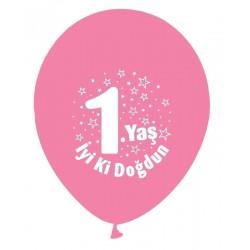 Balon 1 Yaş İyiki Doğdun Pembe ( 100 Adet )