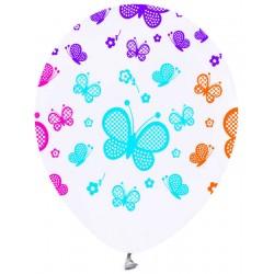 Balon 12 İnc Beyaz Kelebekli ( 100 Adet )