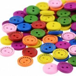 Düğme 10lu Renkli Ahşap Desensiz