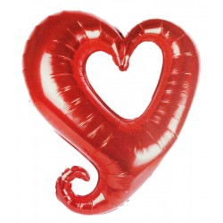 Folyo Balon Kalp Ortası Boş Kırmızı 18 İnc ( 45 Cm )