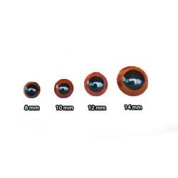 Kilitli Göz Kahverengi 14 mm ( 4 Çift )