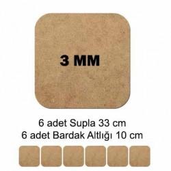 MDF Supla Tabanı Seti 12 Parça ( 3m ) Kare