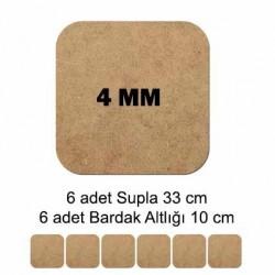 MDF Supla Tabanı Seti 12 Parça ( 4mm ) Kare