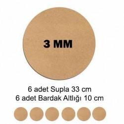 MDF Supla Tabanı Seti 12 Parça ( 3m ) Yuvarlak