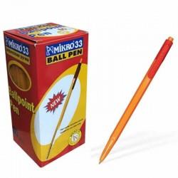 Mikro 33 Ballpoint Tükenmez Kalem 60 Adet Kırmızı