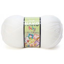 Nako Lüks Minnoş Örgü Bebe İpi 208 Beyaz