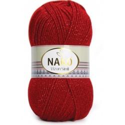 Nako Vizon Simli El Örgü İpi 1175  Koyu Kırmızı